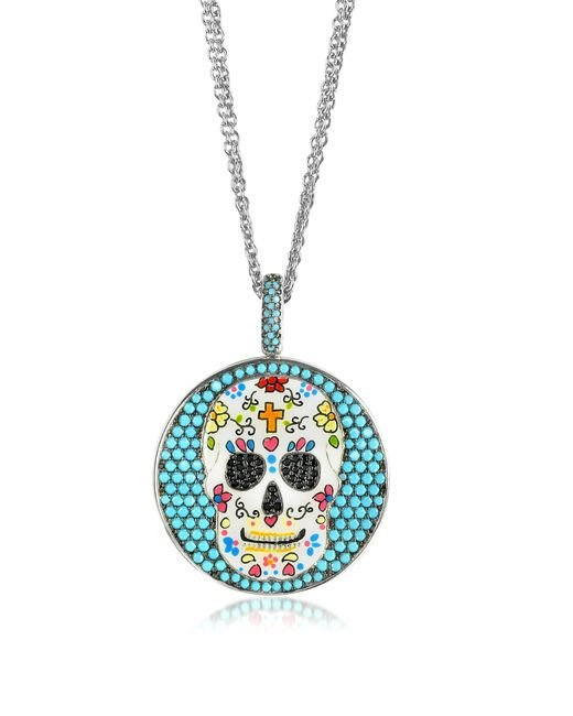Azhar | Metallic Calavera Skull Charm Rhodium Plated Sterling Silver Pendant Necklace | Lyst