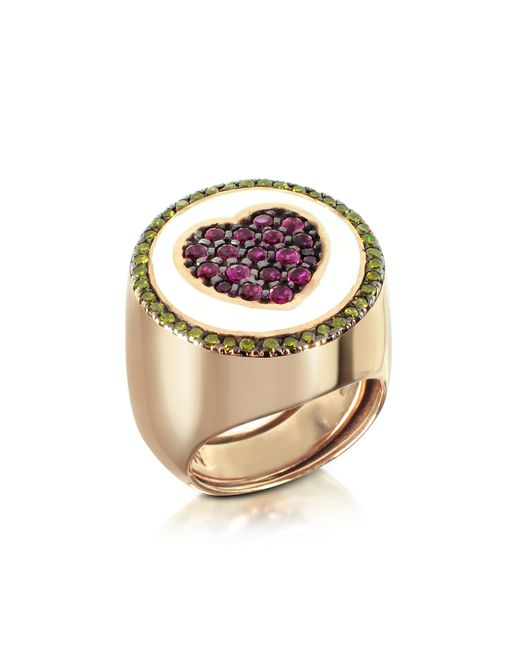 Azhar - Multicolor Rose Gold Plated Sterling Silver Adjustable Ring W/red Cubic Zirconia - Lyst
