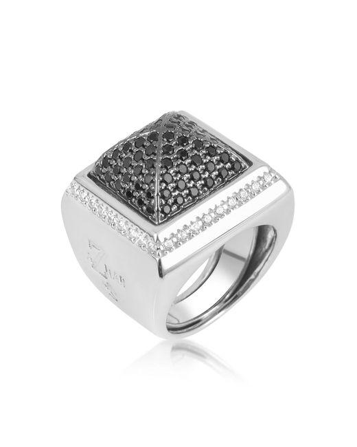 Azhar   Metallic Black Cubic Zirconia Square Ring   Lyst