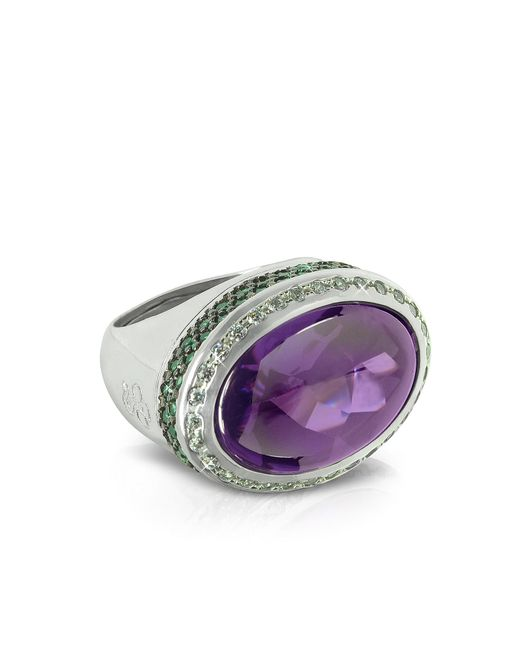 Azhar   Purple Cubic Zirconia Sterling Silver Oval Cocktail Ring   Lyst