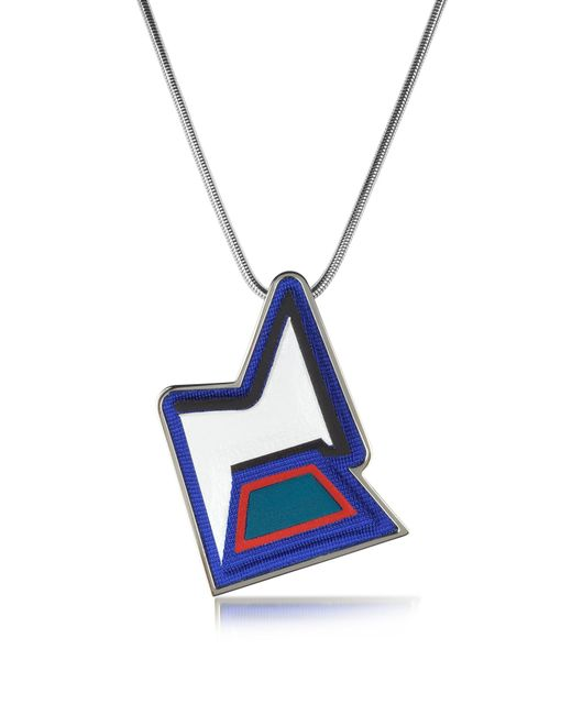 Avril 8790 | Blue Ziggy Easy Palladium Plated Brass And Multicolor Viscose Pendant Necklace | Lyst