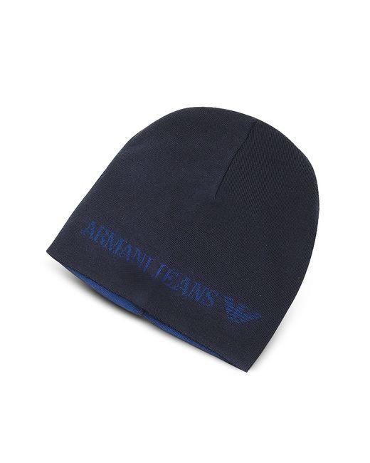 Armani Jeans | Blue Solid Wool Blend Men's Beanie Hat for Men | Lyst