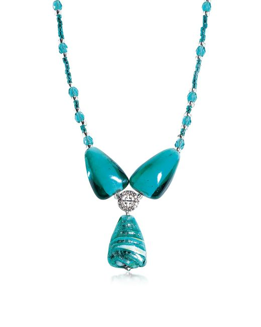 Antica Murrina | Blue Marina 3 - Turquoise Green Murano Glass And Silver Leaf Pendant Necklace | Lyst