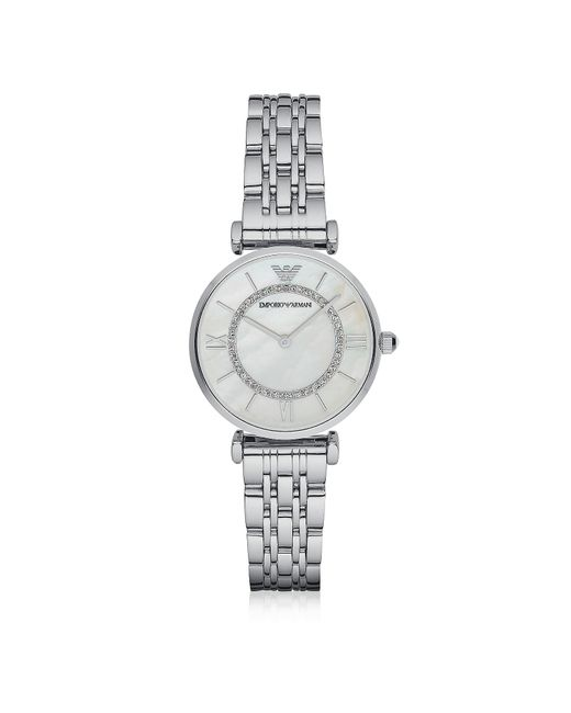 Emporio Armani - Metallic T-bar Silvertone Stainless Steel Women's Watch W/mother Of Pearl And Crystals Dial - Lyst
