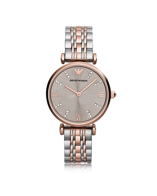 Emporio Armani - Multicolor T-bar Two Tone Stainless Steel Women's Watch W/dark Gray Sunray Dial - Lyst