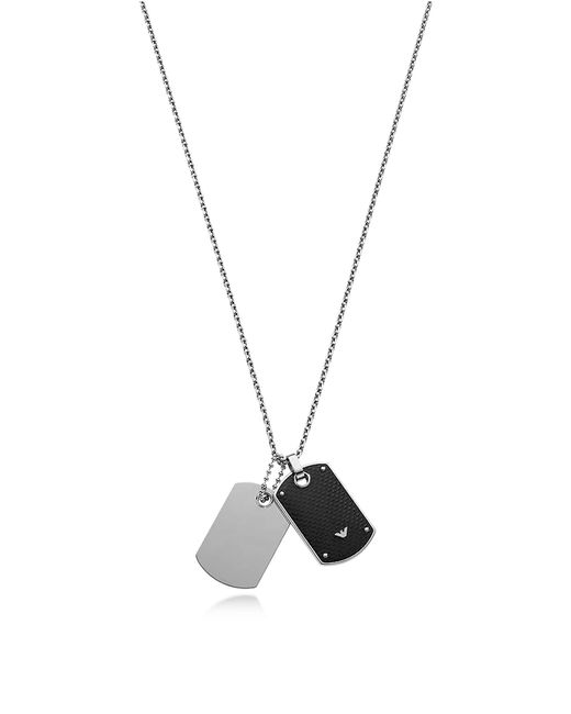 Emporio Armani | Metallic Iconic Stainless Steel And Carbon Fiber Print Men's Necklace for Men | Lyst