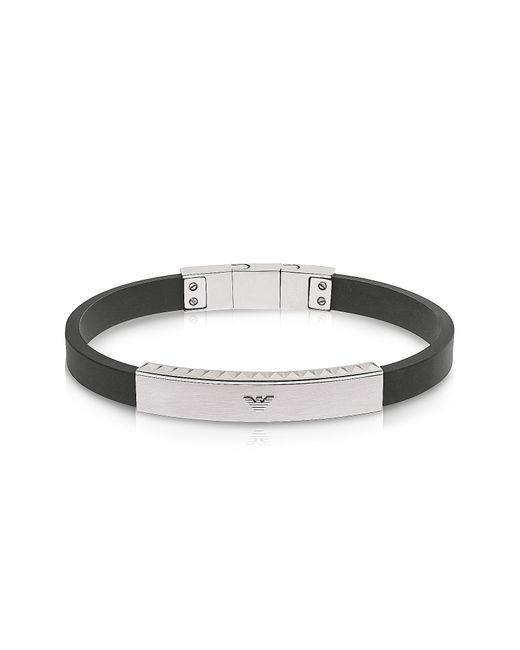 Emporio Armani | Black Stainless Steel And Rubber Men's Bracelet for Men | Lyst