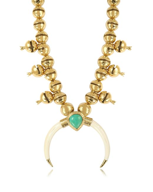 Aurelie Bidermann | Metallic Navaho Gold Plated, Horn And Turquoise Pendant Necklace | Lyst