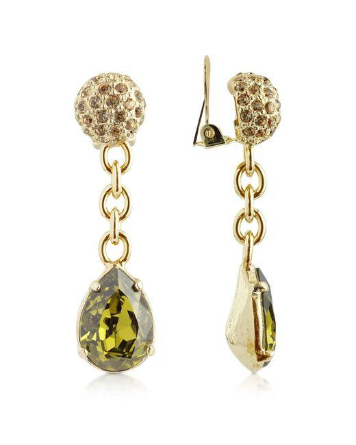 AZ Collection | Metallic Green Clip-on Drop Earrings | Lyst