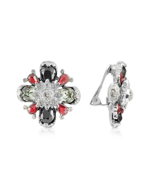 AZ Collection | Red Flower Clip-on Earrings | Lyst