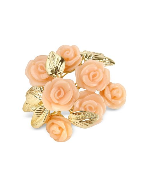 AZ Collection | Metallic Pink Roses Gold Plated Brooch | Lyst