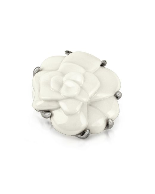 AZ Collection | White Camelia Flower Brooch | Lyst