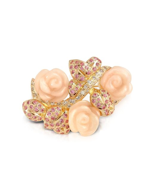 AZ Collection | Metallic Pink Roses Brooch | Lyst