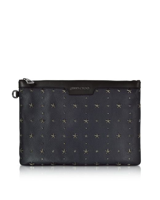 Jimmy Choo | Derek Navy Blue And Slate Grainy Leather Clutch W/crystals Star for Men | Lyst