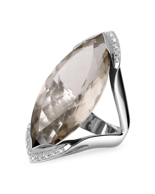 Forzieri - Smokey Quartz And Diamond White Gold Fashion Ring - Lyst