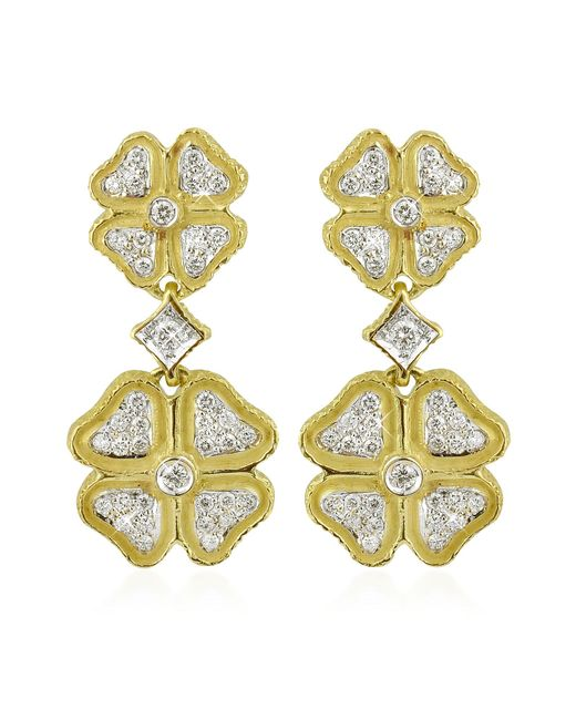 Torrini - Metallic Quadrifoglio Diamond Four-leaf Clover 18k Gold Earrings - Lyst
