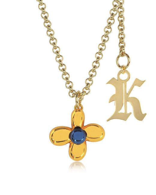 Christopher Kane | Yellow Orange Flower Charm Necklace W/gothic K Pendant | Lyst