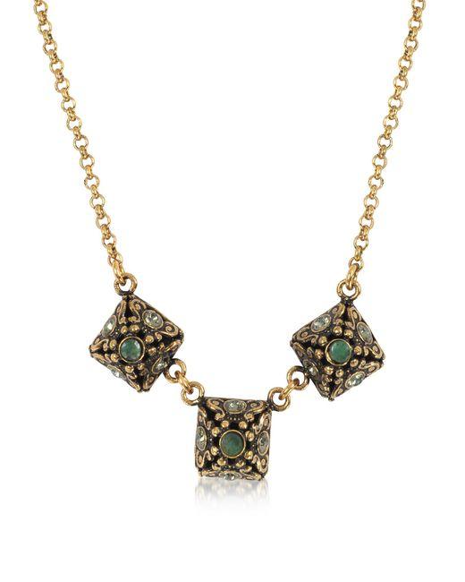Alcozer & J - Metallic Pyramid Necklace W/semi Precious Stones - Lyst