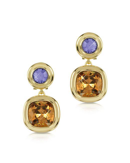 Forzieri - Purple And Orange Crystal Earrings - Lyst