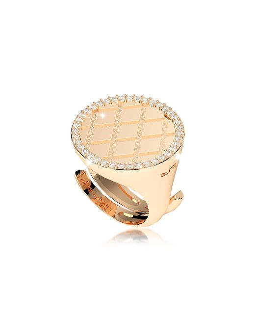 Rebecca Metallic Melrose Yellow Gold Over Bronze Ring W/cubic Zirconia