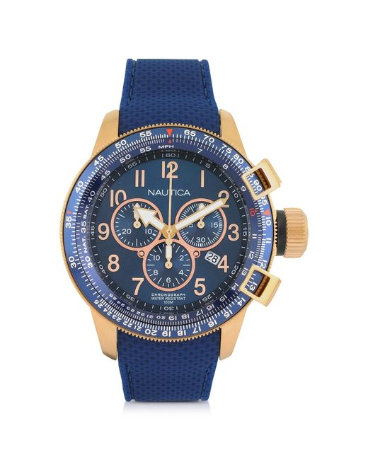 Nautica - Gold Tone Stainless Steel Case And Blue Rubber Strap Men's Watch for Men - Lyst