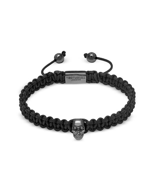 Northskull Atticus Skull Macramé Bracelet In Black And Gunmetal für Herren