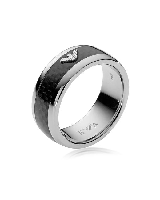 Emporio Armani - Black Iconic Carbon Fiber And Stainless Steel Men's Ring for Men - Lyst