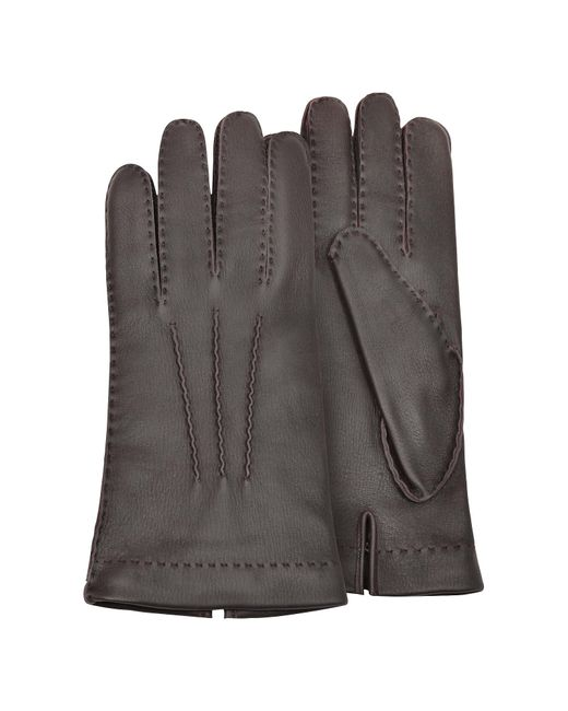 Forzieri Men's Cashmere Lined Brown Italian Deer Leather Gloves for men