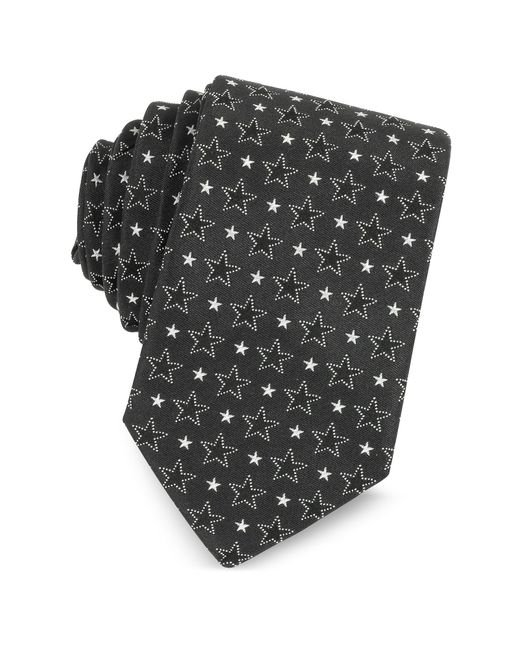 Givenchy | Black And White Multi Stars Printed Silk Narrow Tie for Men | Lyst