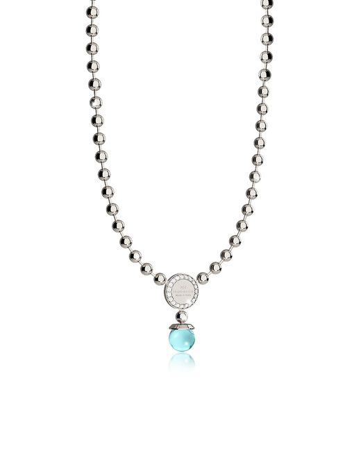 Rebecca - Metallic Boulevard Stone Rhodium Over Bronze Necklace W/hydrothermal Turquoise Stones - Lyst