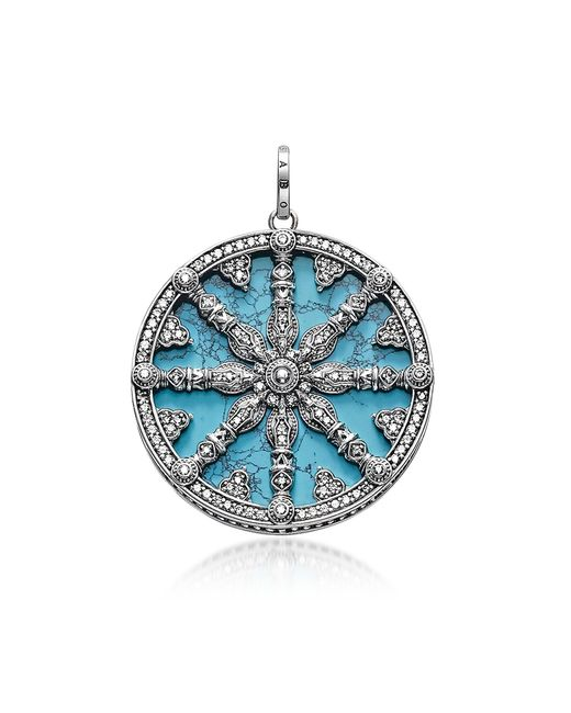 Thomas Sabo - Metallic Blackened Sterling Silver Pendant W/synthetic Turquoise And Cubic Zirconia - Lyst