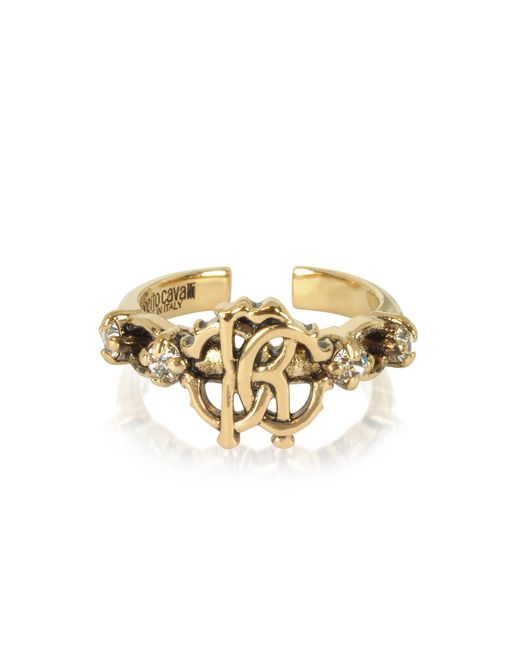 Roberto Cavalli - Metallic Brushed Goldtone Rc Icon Ring - Lyst