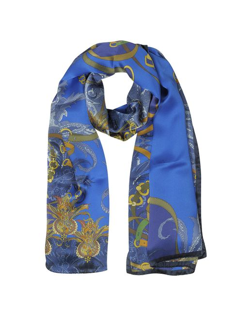 Mila Schon | Blue Ornamental And Pattern Printed Satin Silk Stole | Lyst