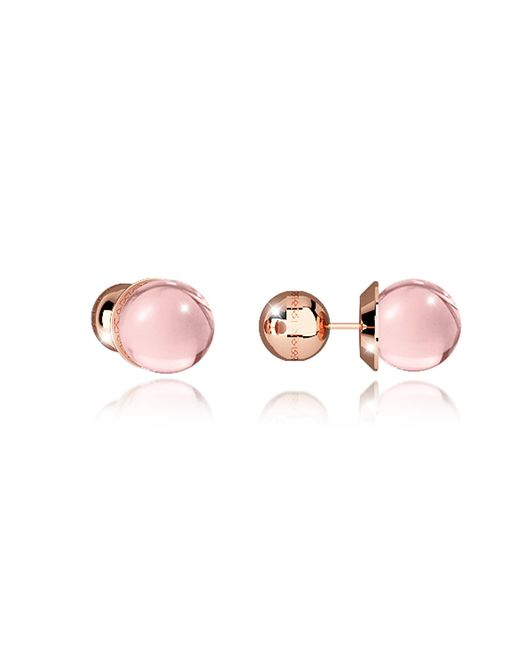 Rebecca - Boulevard Stone Rose Gold Over Bronze Stud Earrings W/pink Hydrothermal Stone - Lyst