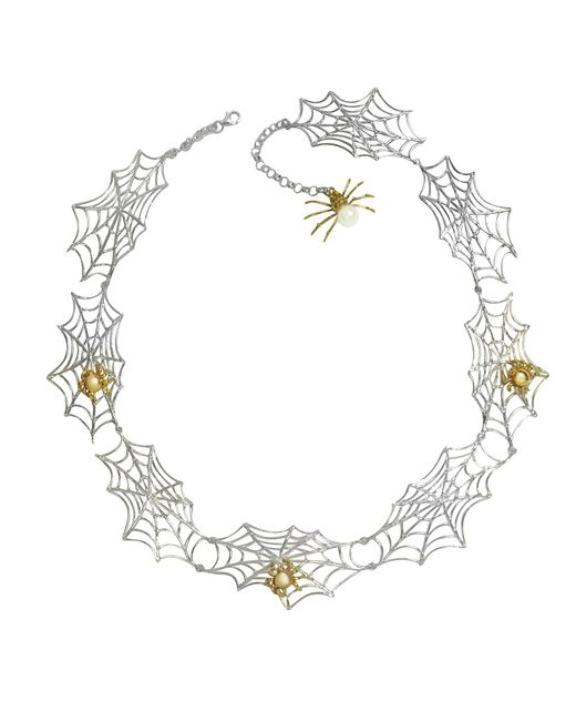 Bernard Delettrez | Metallic Bronze Spiders On Silver Web Necklace | Lyst