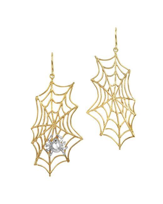 Bernard Delettrez | Metallic Spiderweb Bronze And Silver Earrings | Lyst
