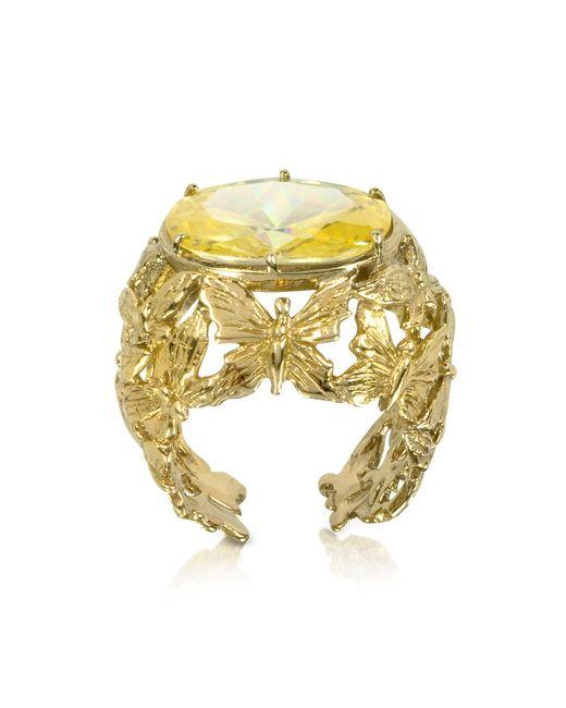 Bernard Delettrez   Metallic Bronze Dome Ring W/butterflies And Yellow Cubic Zirconia   Lyst