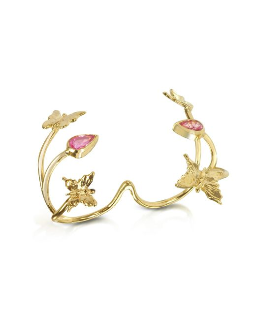 Bernard Delettrez | Metallic Butterfly And Pink Sapphires Gold 2 Fingers Ring | Lyst