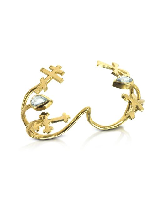 Bernard Delettrez | Metallic Gold With Green Sapphires Double Ring With Crosses | Lyst