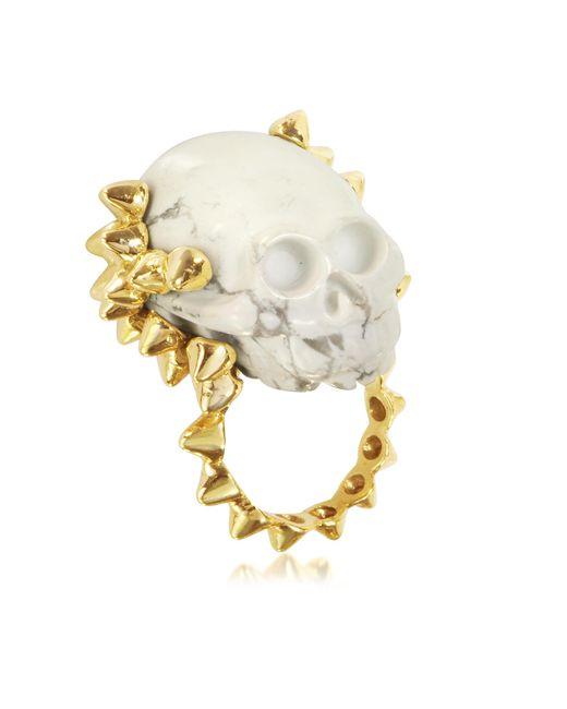 Bernard Delettrez | Metallic Golden Studs With Marble Skull Ring | Lyst