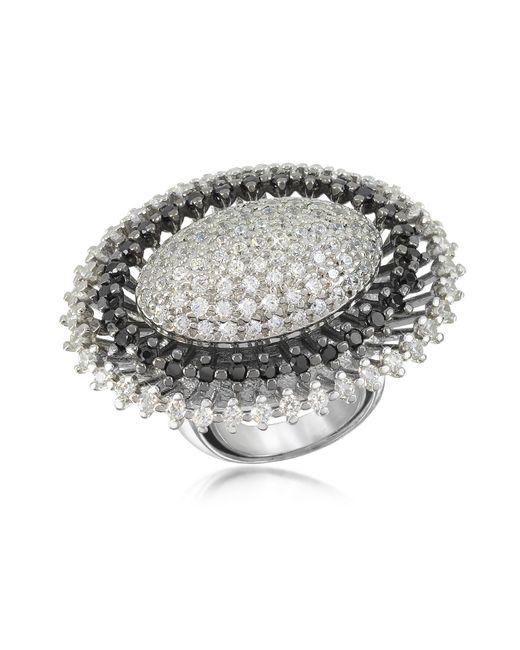 Azhar - Metallic Black And White Sterling Silver Oval Ring - Lyst