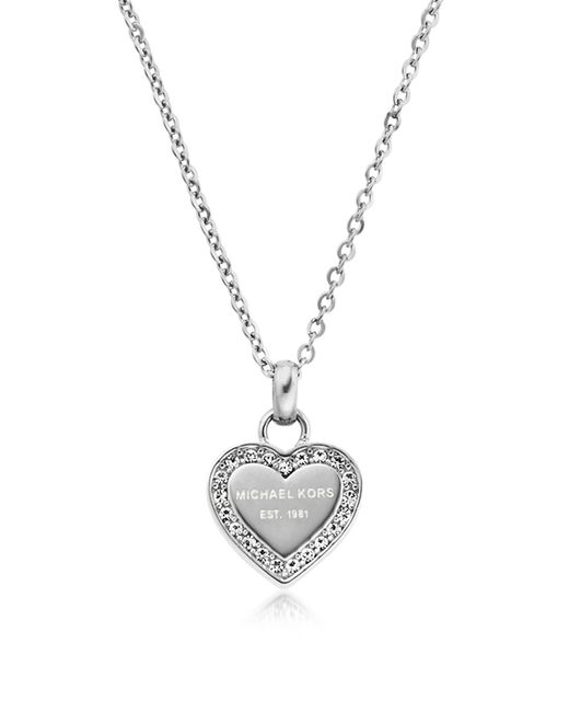 Michael Kors - Metallic Heritage Stainless Heart Necklace W/crystals - Lyst