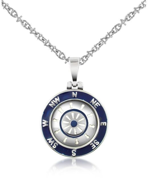 Forzieri Metallic Stainless Steel Cardinal Points & Rudder Pendant Necklace for men
