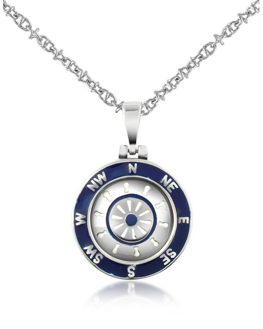 Forzieri - Metallic Stainless Steel Cardinal Points & Rudder Pendant Necklace for Men - Lyst
