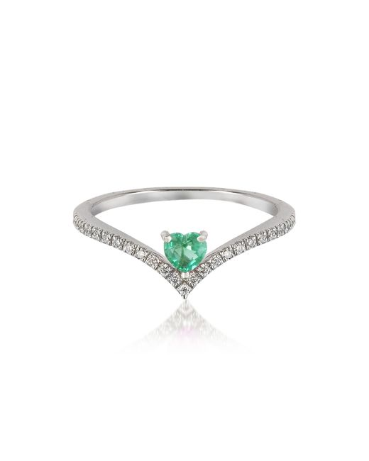 Forzieri - Green V-shaped Diamonds Band Ring With Enclosed Emerald Heart - Lyst