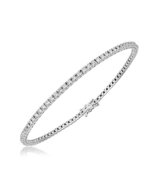 Forzieri - 1.61 Ctw White Diamond Eternity 18k Gold Tennis Bracelet - Lyst