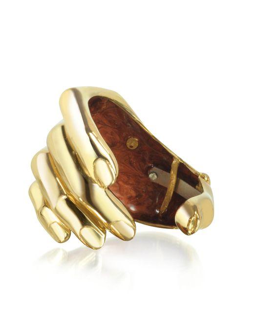 Bernard Delettrez Metallic Hand Bronze Cuff Bracelet