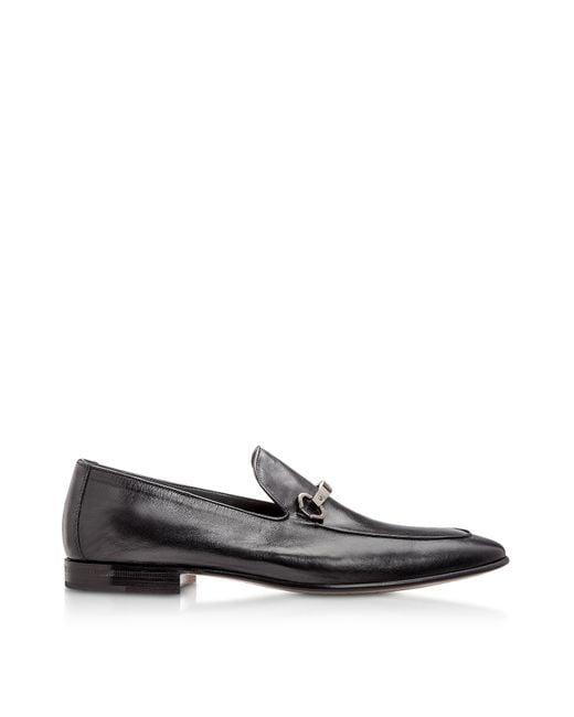 Moreschi Adelaide Black Kangaroo Leather Loafer Shoes für Herren