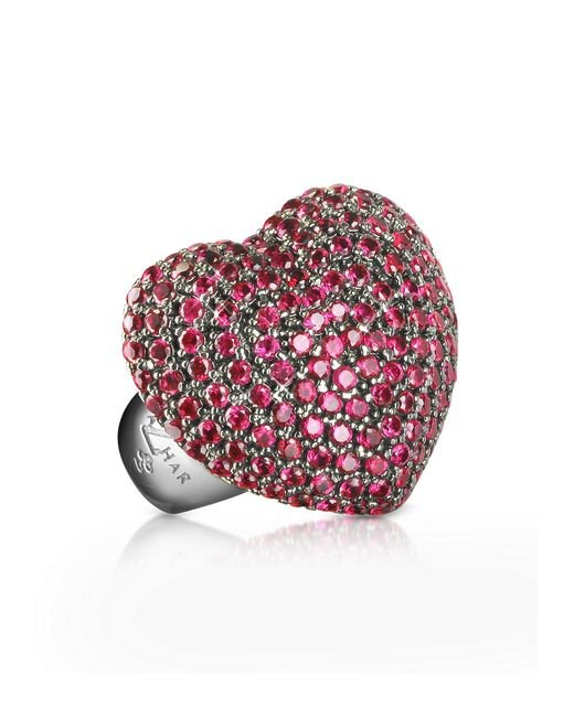 Azhar Red Sterling Silver And Cubic Zirconia Big Heart Ring