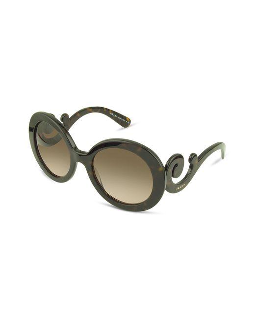 Prada - Brown Swirled Temple Large Frame Sunglasses - Lyst